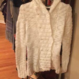 Women's hooded ivory sweater size medium